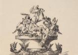 Cartell de la falla que es va plantar en la Plaça de Bous en 1877