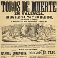 ANÒNIM Bous de mort a València: els dies 24, 25 i 26 juliol 1863... a benefici de l'Hospital General... ADPV. Cartells taurins. 19/256