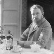 ANTONIO GARCÍA. Retrato de Joaquín Sorolla Bastida sentado ante una taza de café y licores. 1904. ES.462508.ADPV/Colección Boldún, imagen nº 07347