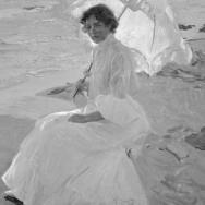 ANTONIO GARCÍA. Clotilde con sombrilla, pintura de Joaquín Sorolla Bastida. 1904. ES.462508.ADPV/Colección Boldún, imagen nº 07419