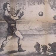 L'Home Muralla detenent una bola de canó. ES.462508.ADPV / Cartells de circ / IX.1 , caixa 30 , lligall 88.01