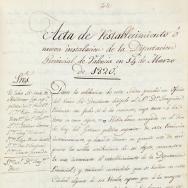 Acta de restabliment de la Diputació Provincial de València al març de 1820. ES.462508.ADPV/Diputació/A.1.1, vol 1, pàg. 44