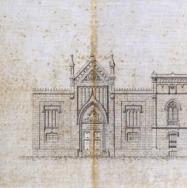 JOAQUÍN MARÍA BELDA. Façana posterior de l'antic Hospital Provincial. 1881. ES.462508.ADPV/Mapes i plànols/R05, nº 16.01