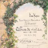 ANTONIO GOMAR Y GOMAR. Portada del álbum de visitas de la Casa Hospicio Nuestra Señora de la Misericordia. 20 julio 1907. ES.462508.ADPV/Casa Misericordia/a.1.10, vol. 1