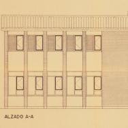MARIANO GARCÍA BENITO Y LUIS VÁZQUEZ DE CASTRO. Detall de l'alçat del tipus d'habitatge per maestroER-35 del Pla Nacional d'Escoles Rurals a Carcaixent. 1958. ES.462508.ADPV / Servici Provincial d'inspecció / g.1, caixa 58.