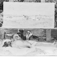Apunt de platja i Crist mort, per Ignacio Pinazo Camarlench. Fotografia: Col·lecció Enrique Cardona, ca. 1930. Signatura 0873.
