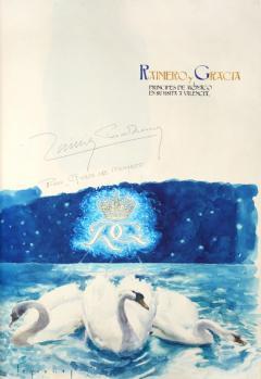 Signatura dels prínceps de Mònaco en el llibre d'honor de la Diputació de València. Dibuix de Segrelles.