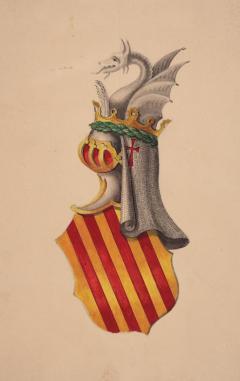 Il·lustració de l'escut de la Diputació Provincial de València. 1972. ES.462508.ADPV/Diputació/ A.0.1.2.1. caixa 34