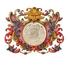 Detall del segell de Felipe V en el privilegi sobre les corregudes de bous en la ciutat de València concedit a l'Hospital General. 1739. ES.462508.ADPV/Hospital General/IX.1, pergamí 15