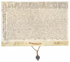 Butlla de Pío VI concedint a la Casa de Misericòrdia i d'Òrfenes de València una pensió anual sobre la taula arzobispal de València de 4624 ducats i 9 juliols durant un període de 14 anys. 22 juny 1795. ES.462508.ADPV/Casa de Misericòrdia/Pergamí 1