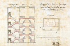 MANUEL SORNÍ I GRAU. Projecte d'escala principal para la Casa Hospici La nostra Senyora de la Misericòrdia. 30 juny 1871. ES.462508.ADPV/Mapes i plànols/MP004 nº 15