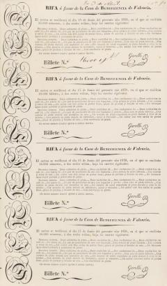 Participació en la rifa de joies i joies a favor de la Casa de Beneficència. 1838. ES.462508.ADPV / Casa Beneficència / b.5.24. vol. 1