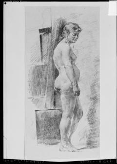 Dibujo de desnudo femenino, por Ignacio Pinazo Camarlench, en Valencia. Fotografía: Colección Francisco Sanchis, ca.1950. Signatura 990.