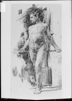Dibujo de desnudo masculino, por Ignacio Pinazo Camarlench, en Valencia. Fotografía: Colección Francisco Sanchis, ca.1950. Signatura 0988.