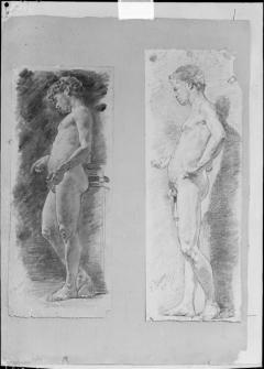 Dibujos de desnudo masculino, por Ignacio Pinazo Camarlench, en Valencia. Fotografía: Colección Francisco Sanchis, ca.1950. Signatura 0998.
