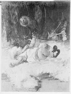 Estudio para pompas de jabón, por Ignacio Pinazo Camarlench, 1883. Museo de Bellas Artes de Asturias en Oviedo. Fotografía: Colección Enrique Cardona, ca. 1925. Signatura 0556.