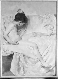 Pintura al óleo de Juegos icarios, por Ignacio Pinazo Camarlench, en el Museo de Bellas Artes de Valencia. Fotografía: Colección Francisco Sanchis, ca.1946. Signatura 1524.