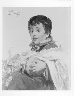 Monaguillo tocando la zambomba, por Ignacio Pinazo Camarlench, 1896. Museo de Bellas Artes de Valencia. Fotografía: Colección Enrique Cardona, ca.1930. Signatura 0814.