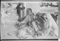 Pintura al óleo de Lázaro y el rico Epulón, por José Pinazo Martinez, en Valencia. Fotografía: Colección Francisco Sanchis, ca.1946. Signatura 1533.