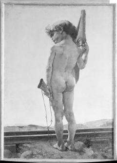 Pintura al óleo de El guardavía, por Ignacio Pinazo Camarlench, en el Museo de Bellas Artes de Valencia. Fotografía: Colección Francisco Sanchis, ca.1946. Signatura 1523.