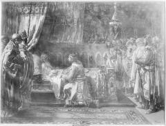Pintura al óleo de la entrega de la espada del rey don Jaime a su hijo Pedro, por Ignacio Pinazo Camarlench, en 1881, en el Museo del Prado de Madrid. Fotografía: Colección Francisco Sanchis, ca.1946. Signatura 1510.